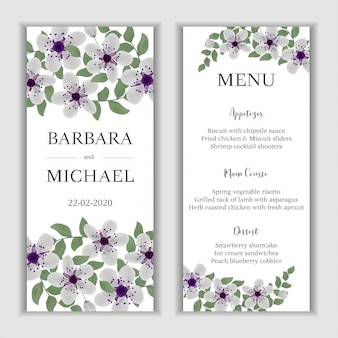 Floral wedding menu card with cherry blossom bouquet