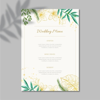 Floral wedding menu template design