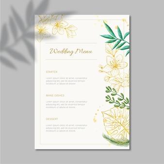Disegno del modello di menu matrimonio floreale