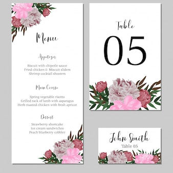 Floral wedding menu template, stationary with peony flower