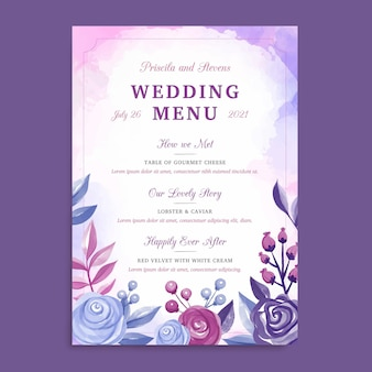 Floral wedding menu template