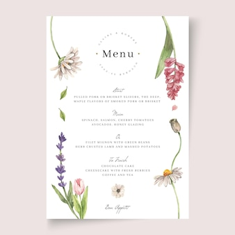 Цветочный шаблон свадебного меню