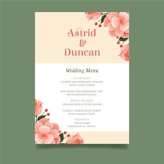 花の結婚式メニューテンプレート