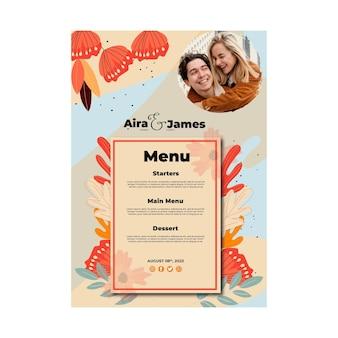 Floral wedding menu template