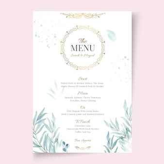 Modello di menu matrimonio floreale