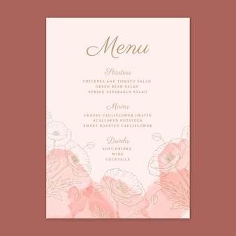 Floral wedding menutemplate