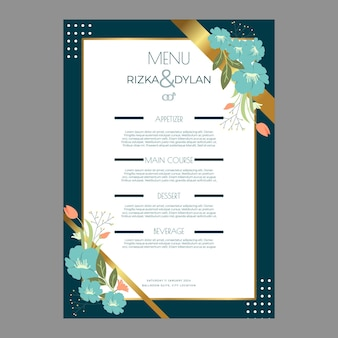Floral wedding menu