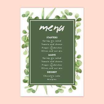 Floral wedding menu