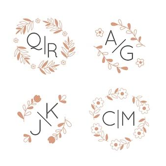 Floral wedding monograms concept logos