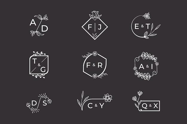 Floral wedding monograms concept