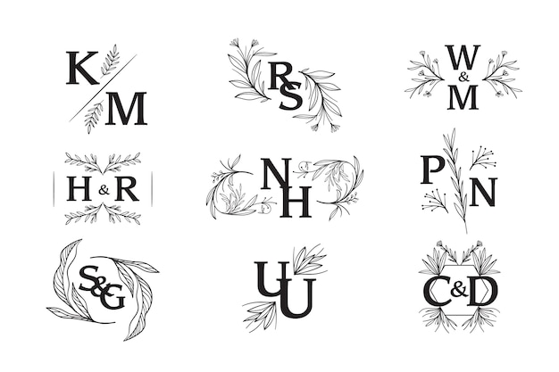 Floral wedding monograms design