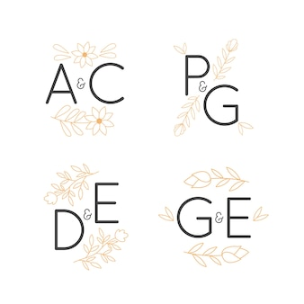 Loghi monogrammi floreali di nozze