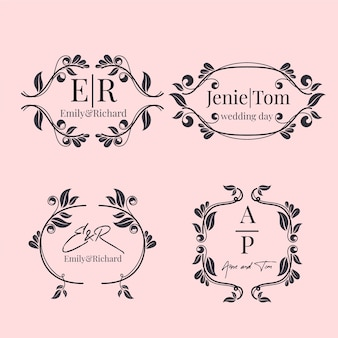 Floral wedding monograms/logos