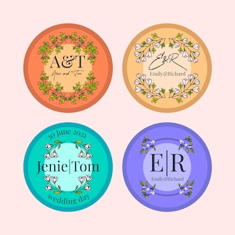 Floral wedding monograms pack