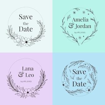Confezione monogrammi floreali di nozze