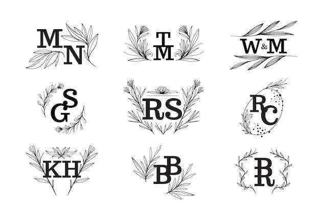 Tema floreale monogrammi di nozze