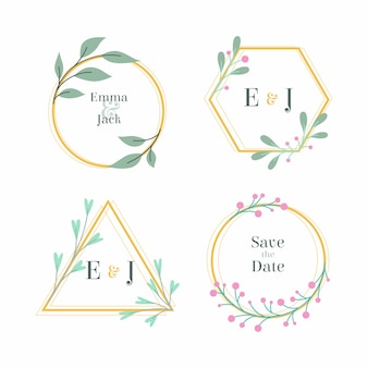 Floral wedding monograms with branches of flowers