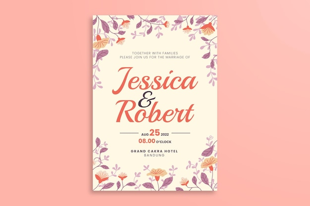 Floral wedding poster template