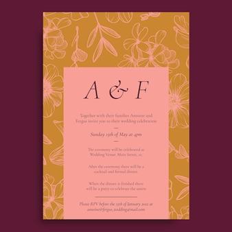 花の結婚式プログラムの招待状
