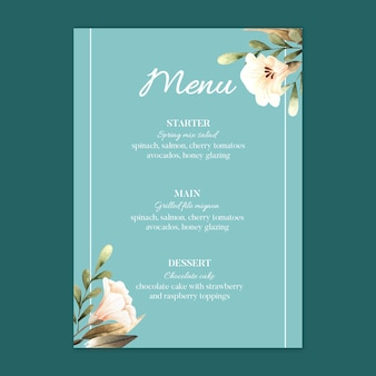 Floral wedding restaurant menu template