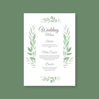 花の結婚式のレストランメニューテンプレート