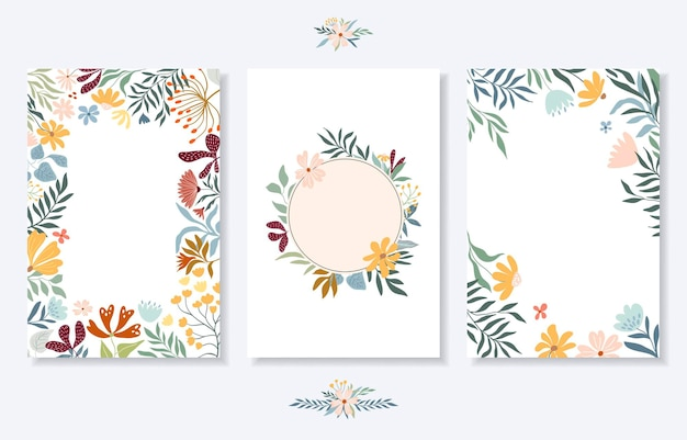 Floral wedding  set with cards and invitation floral frame floral wreath borders