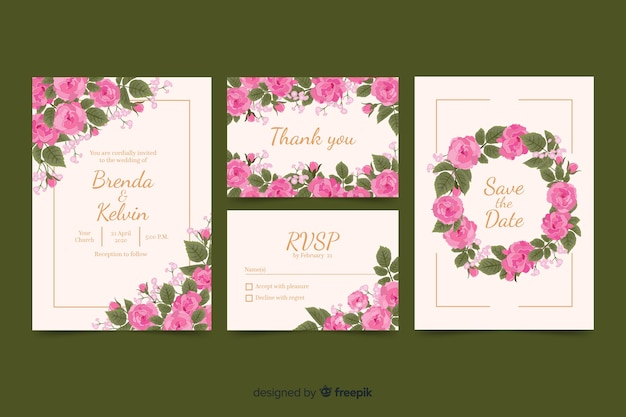 Floral wedding stationary template collection