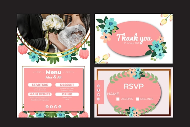 Floral wedding stationery assortment