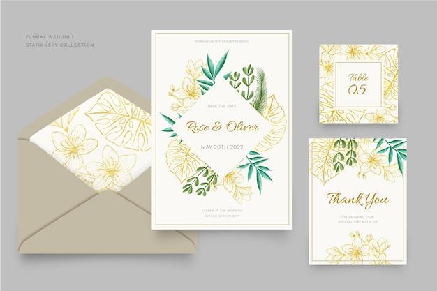 花の結婚式の文房具コレクションテンプレートデザイン