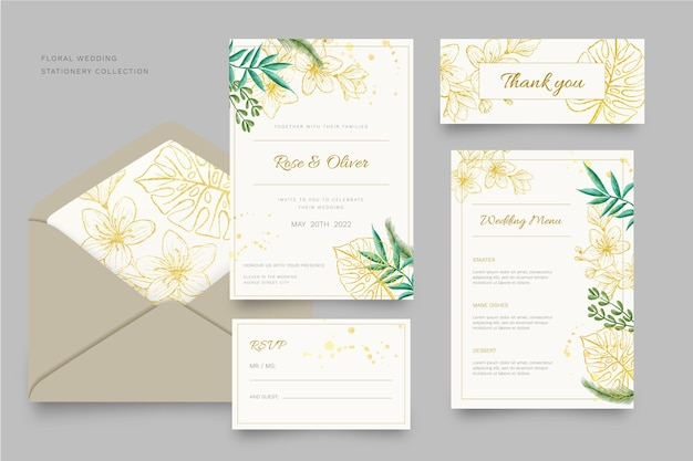 Floral wedding stationery collection template design