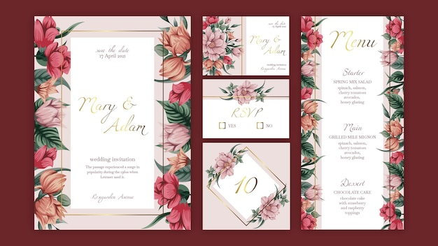 Floral wedding stationery collection template