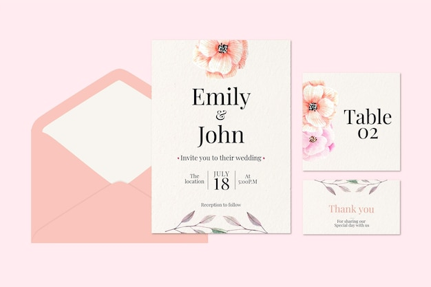花の結婚式の文房具コレクション
