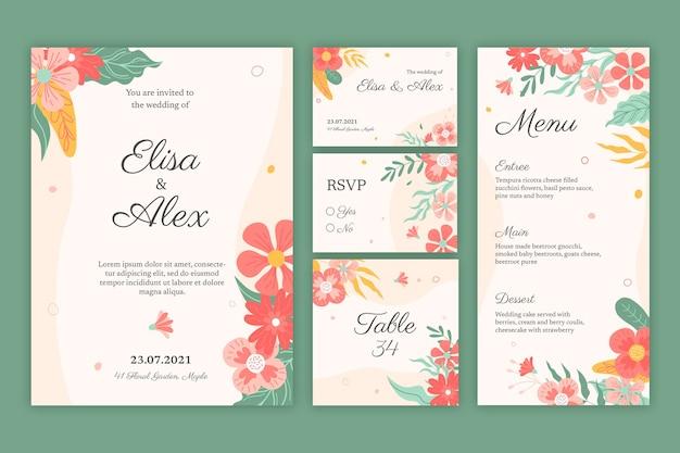 花柄のウェディングステーショナリーコレクション 無料ベクター