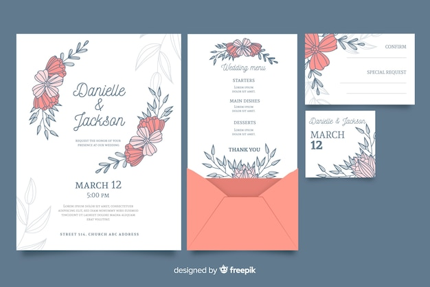 Floral wedding stationery invitation