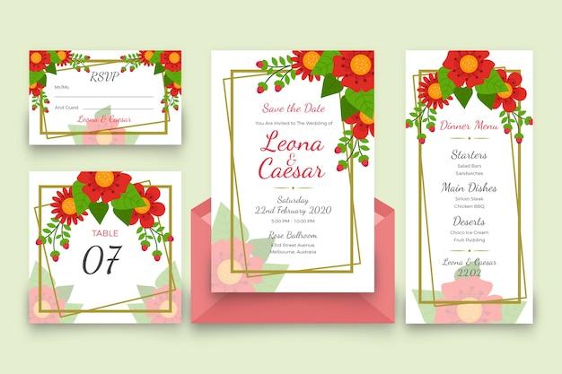 花の結婚式の文房具パック