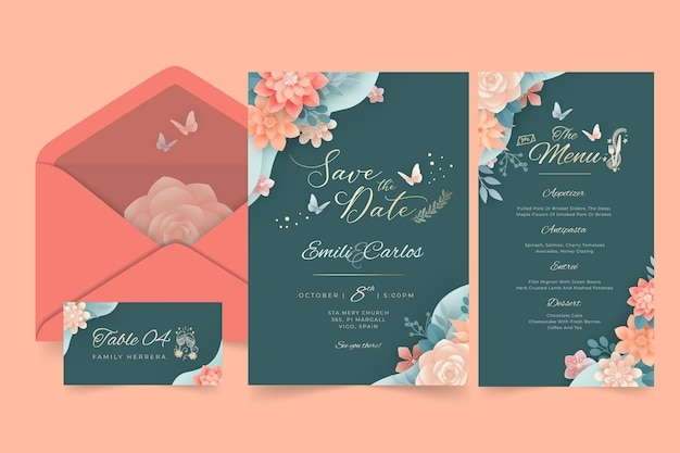 Floral wedding stationery pack