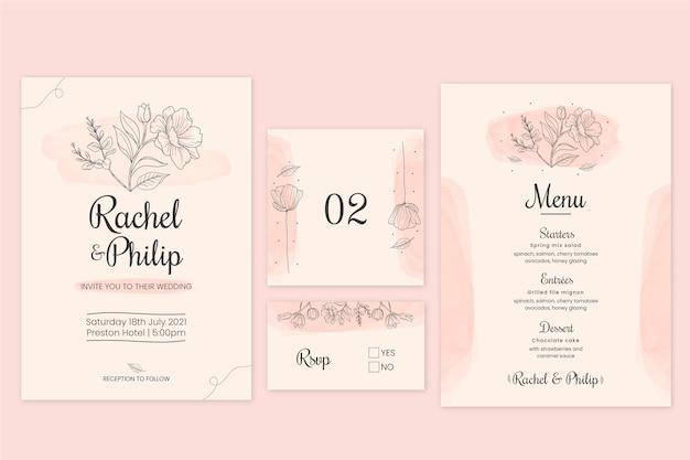 Confezione di cancelleria floreale per matrimonio