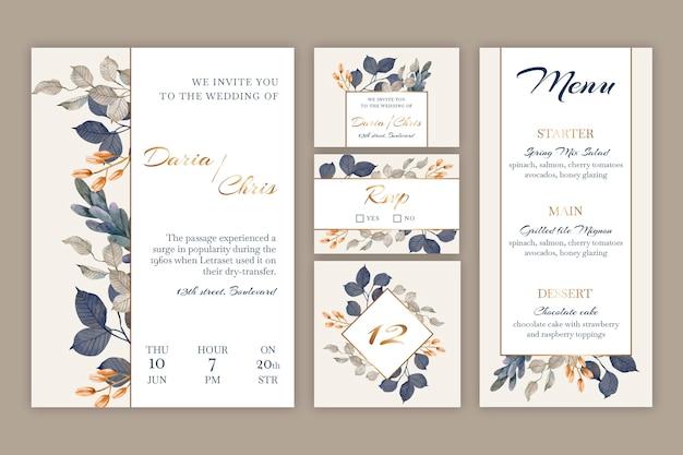 Set di cancelleria per matrimonio floreale