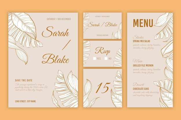 Floral wedding stationery set