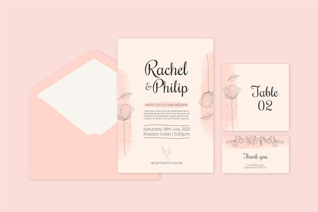 Floral wedding stationery set Free Vector