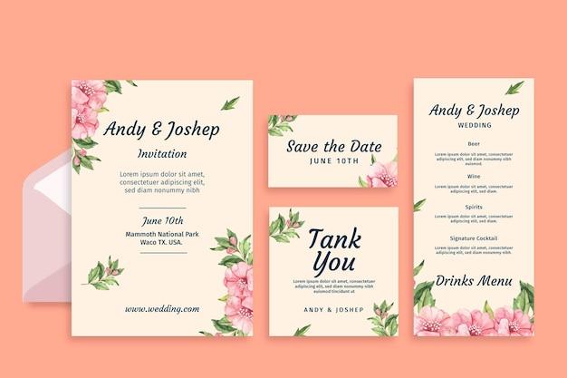 花の結婚式の文房具セット