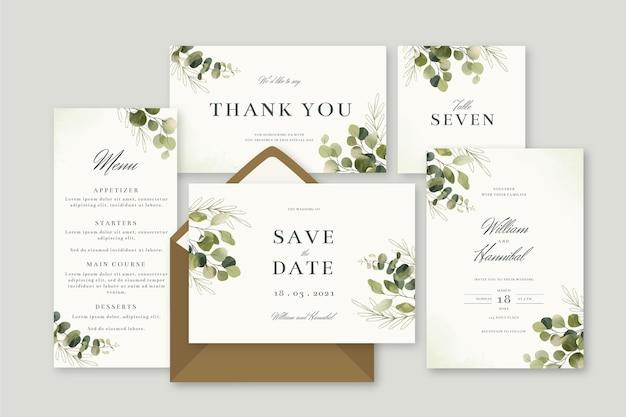 Floral wedding stationery set