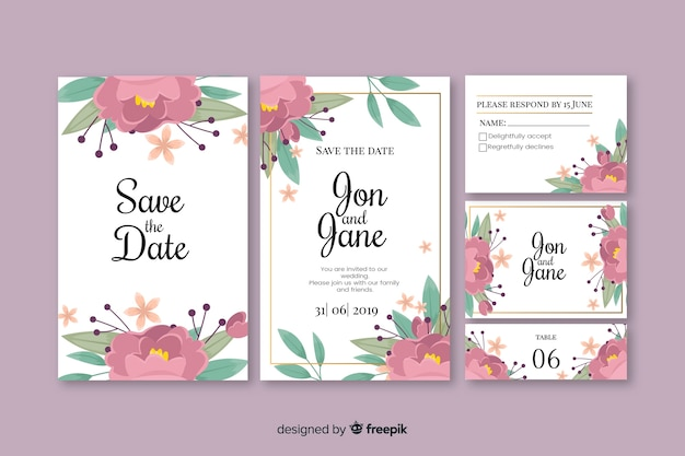 Floral wedding stationery template collection