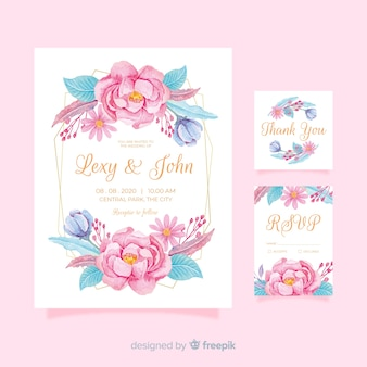 Floral wedding stationery template pack
