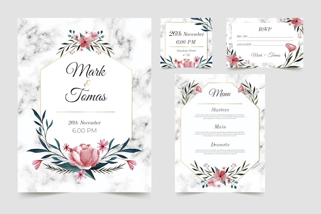 Floral wedding stationery template set