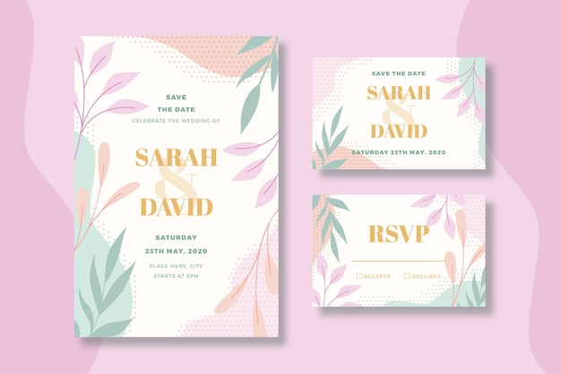 Floral wedding stationery template