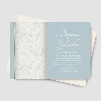 Floral wedding template - hand drawn flowers