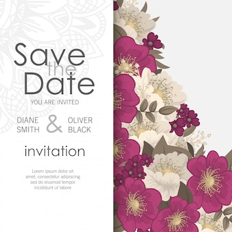 Floral wedding template  - hot pink flower