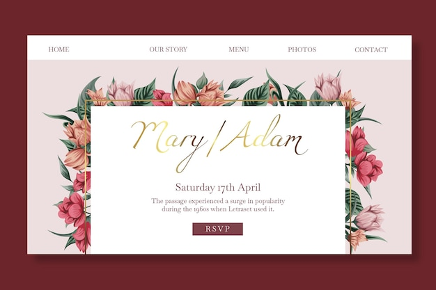 Floral wedding template landing page