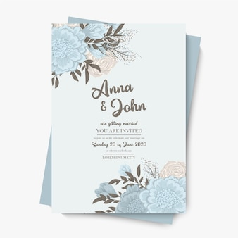 Floral wedding template - light blue floral frame